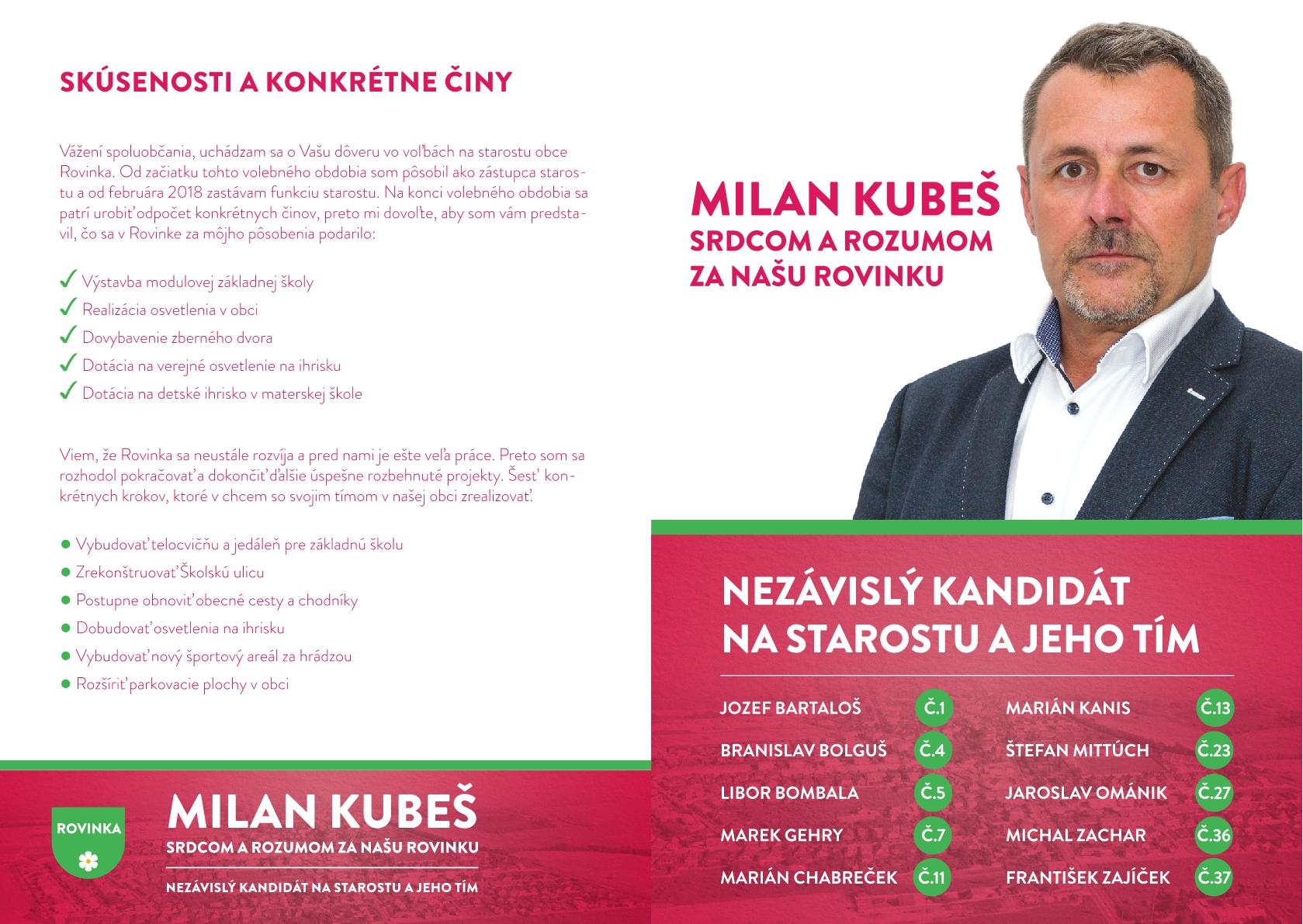 4ea65b9114a1 leták  Milan Kubeš – kandidát č. 18 (NEKA)